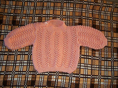 New Hand Knitted Baby Jumper  Bright Peach   6- 12  Mths App