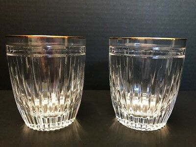 set of (2)  Waterford MARQUIS HANOVER GOLD Double Old Fashioned Glass
