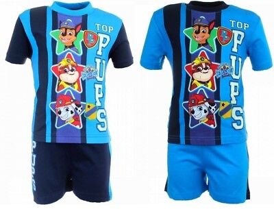 Boys Kids Nickelodeon Paw Patrol Short Sleeves T Shirt Shorts Set Outfit Pjs NEW