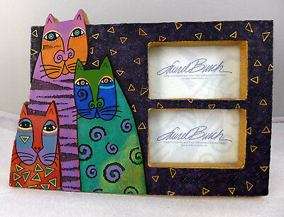 """1999 LAUREL BURCH COLORFUL KITTY CAT DOUBLE PICTURE FRAME 7""""x10"""""""