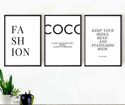 Set of 3 Fashion quote prints  - wall art pictures - new home gift - coco quotes