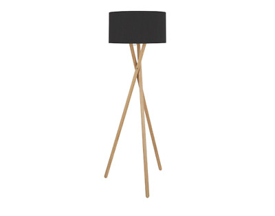 Wooden Tripod Standing Floor Lamp - Home Interior Decor with Black Silk Shade