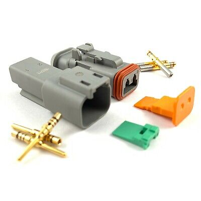 5x Deutsch DT 2-Pin Connector Plug Kit 20-16 AWG Gold Contacts DT04-2P DT06-2S