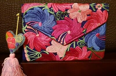 Mexican Embroidered flower clutch and crossbody purse, Handmade.
