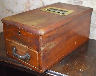 Antique Vintage O'brien Cash Register Wooden Till Drawer Bell self closing