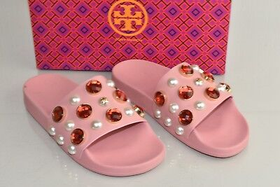 3cbc0e706  225 NEW Tory Burch VAIL Pearls Crystal Jeweled PVC Slides Sandals Retro  Pink 7