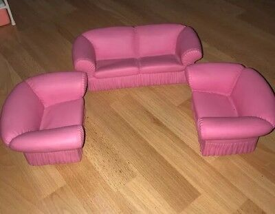 3 MATTEL BARBIE Living Room Set Sofa Couch Chairs Pink Furniture ...