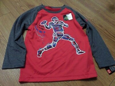 bnwt -boys lonmgunder armour shirt-size 3t-red& gray-it glows football player