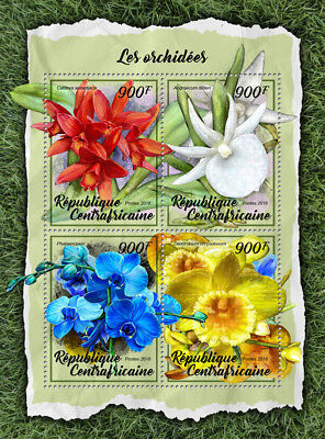 Central African Rep 2018 MNH Orchids Cattleya Dendrobium 4v M/S Flowers Stamps