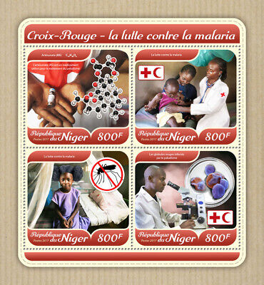 Niger 2017 MNH Red Cross Malaria 4v M/S Medical Health Stamps