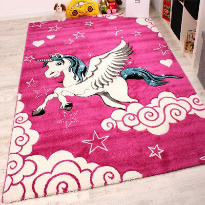 PINK ANIMAL RUG Girls Bedroom White Horse Kids Unicorn Play ...