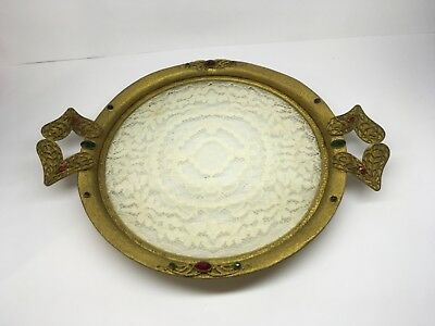 Antique Round Jeweled Vanity Tray with Lace Insert - ANTIQUE ROUND JEWELED Vanity Tray With Lace Insert - $85.00 PicClick