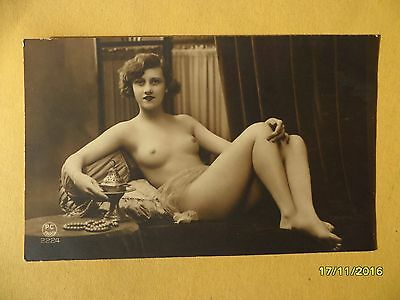 Original French 1910's-1920's Nude Risque Postcard Sexy Lady Relax Pose #151