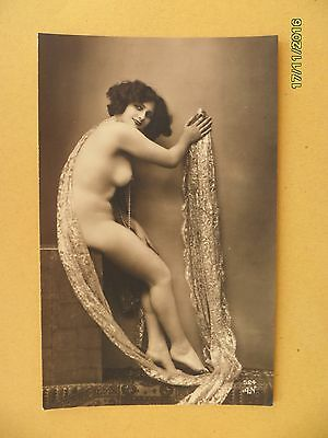 Original French 1910's-1920's Nude Risque Postcard Sexy Lady Beauty Pose #144