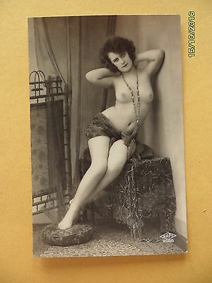 Original French 1910's-1920's Nude Risque Postcard Sexy Lady Breasts Leggy #21