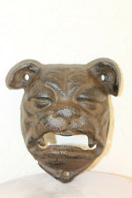 Cast Iron Bull Dog Beer Soda Bottle Opener Antique Patina Cabin House Bar Decor