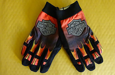 Official Harley Davidson Flame Style, Racing Gloves- Mechanic Adjustable Velcro