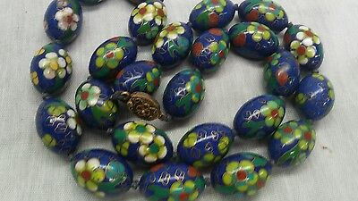 Stunning  vtg.Chinese export large blue enamel cloisonne silver clasp necklace