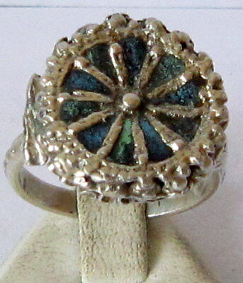 Amazing Post-Medieval Silver Ring With Enamel # 49C