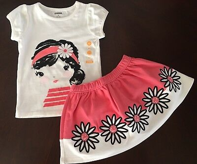 NWT Gymboree Girl Kitty In Pink Ivory Daisy Tee & Bright Pink Skirt Outfit 2T
