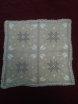 """Square Hardanger Embroidery Handmade Doily/Place mat Beige 8 1/2"""" X 8 1/2"""""""