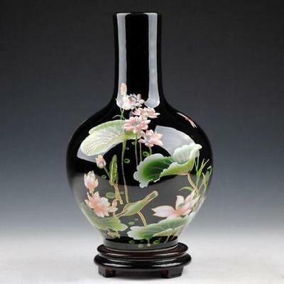 Exquisite Chinese Black porcelain handmade applique Lotus vase