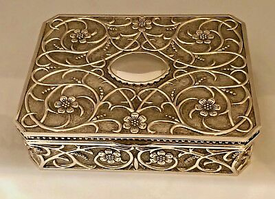 GODINGER LARGE Silver Plated Jewelry Box Velvet Lined Floral Art