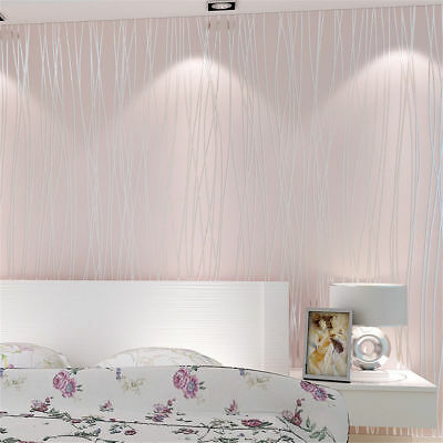 3D Embossed Textured Flocking Non-woven Wallpaper Roll Home Decal Wall Decor