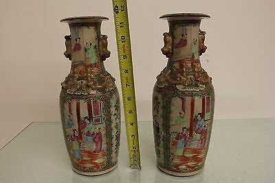 Amazing Pair of Antique 19th/18th Century Chinese Rose Medallion Vases