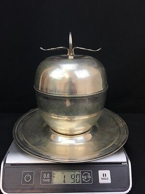 Fabulous Sterling Silver Egyptian Apple Trinket Box with Tray 1090 Grams MARKED