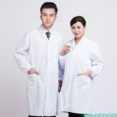 Unisex White Medical Care Uniform Long Overcoat Cuff Lab Hospital Doctor Tops