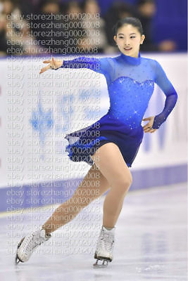 Ice skating dress.Competition Figure Skating Dress.Blue Twirling Baton Dress