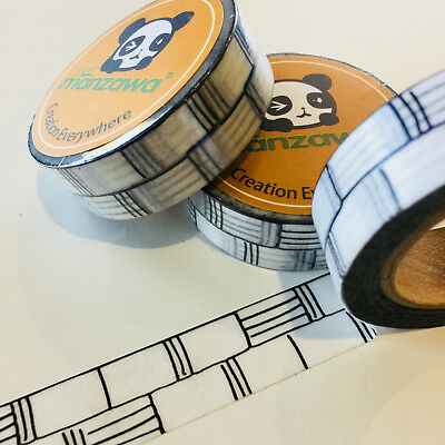 Washi Tape Black Bamboo 15Mm X 10Mtr Planner Craft Wrap Scrap Mail Art