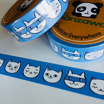 Washi Tape Bandit Kitty Cat 15Mm X 10Mtr Planner Craft Wrap Scrap Mail Art