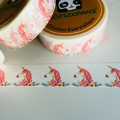 Washi Tape Unicorns & Flowers 15Mm X 10Mtr Planner Craft Wrap Scrap Mail Art