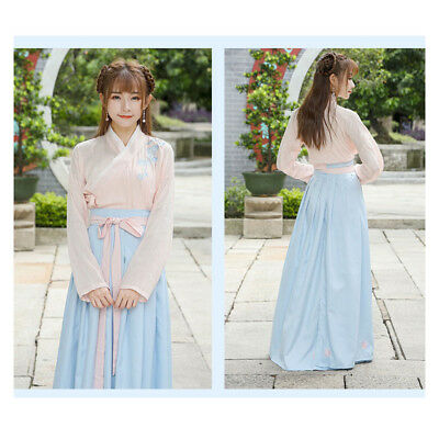 RETRO Women Ancient Chinese East Asian Embroidered Cosplay Costumes Hanfu Dress