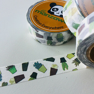 Washi Tape Cactus Pots Succulents 15Mm X 10Mtr Planner Craft Wrap Scrap Mail Art