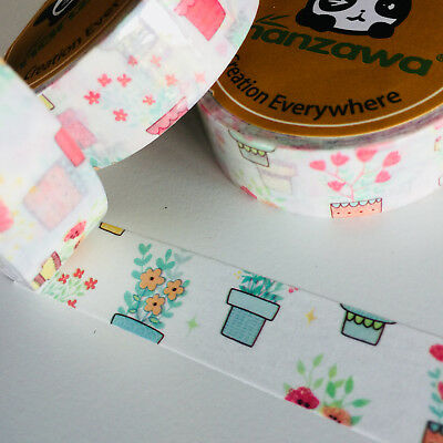 Washi Tape Flower Pots 15Mm X 10Mtr Planner Craft Wrap Scrap Mail Art