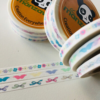 Washi Tape Planner Essentials Skinny Pastel Trio Flowers Bows  Each 5Mm X 10Mtr