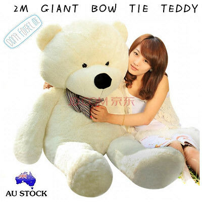 Huge 200Cm Giant White Teddy Bear Bow Tie Cuddly Soft Plush Toy Stuffed Doll