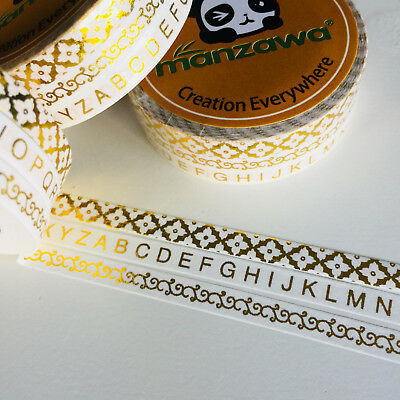 Washi Tape Planner Essentials Skinny Gold Foil Trio Alphabet Borders  5Mm X 10Mt