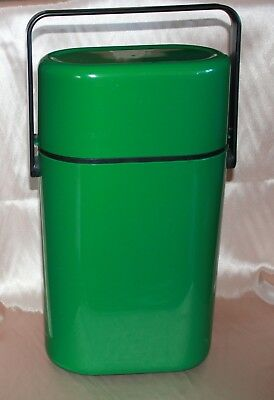vintage retro DECOR wine drinks cooler plastic carry case Aust 2 bottle GREEN gc