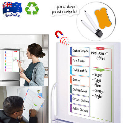 A3 Magnetic Whiteboard Weekly Fitness Nutrition Health Diet Plan Shopping List
