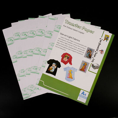 10 sheets A4 iron on transfer paper for inkjet heat print for light color   O