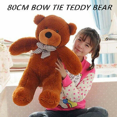 Huge 80Cm Giant Brown Teddy Bear Bow Tie Cuddly Soft Plush Toy Doll Stuffed