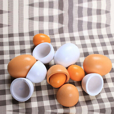 6X Wooden Eggs Baby/Toddler Yolk Pretend Children Play Kitchen Game Food Fun Toy