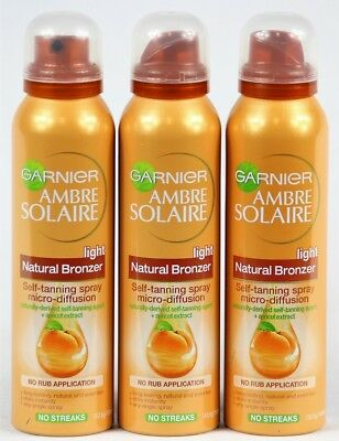 3 x 130.5g/150ml Garnier Ambre Solaire Light Natural Bronzer Self-Tanning Spray