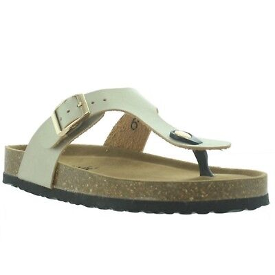 a57132a68 OUTWOODS BORK WOMENS Gold Two Buckle 3 Strap Slip On Sandals Shoes ...