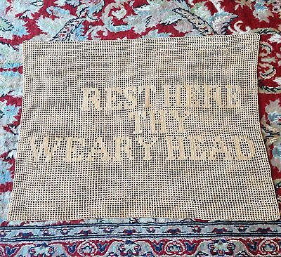 """Antique Linen Crocheted """"Rest Here Thy Weary Head"""" Doily Chairback, Cream"""
