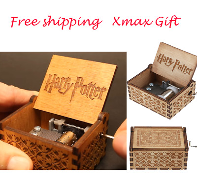 Tiny Harry Potter Wooden Hand Engraved Music Box Fun Interesting Toys Kids Gift
